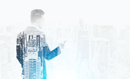 Man with phone and cityscape Royalty Free Stock Photo