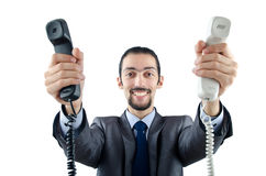 Man with phone isolated Royalty Free Stock Images