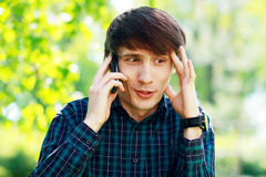 Man on phone outdoor Stock Photography