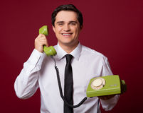 Man with phone Stock Images