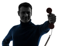 Man on the phone silhouette portrait Stock Image