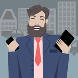 Man with phones. Man with smartphone and tablet in the city Stock Image