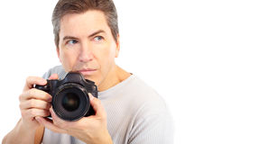 Man with photo camera Stock Image