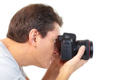 Man with photo camera Royalty Free Stock Photos