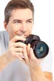 Man with photo camera Stock Photography