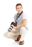 Man with photo camera stock photo