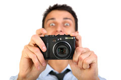 Man with photo camera. Royalty Free Stock Photo