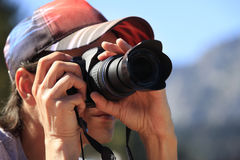 Man with photo camera royalty free stock images