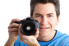 Man with photo camera Stock Images