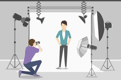 Man in photo studio. Royalty Free Stock Images
