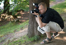 Man with photocamera Royalty Free Stock Images