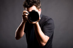 Man with a photocamera Royalty Free Stock Images