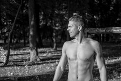 Man photographed in street workout session. Just finished one of his exercises.Photo was taken in early morning, around 6am in city park Dudova forest. Black stock photography
