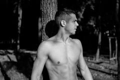 Man photographed in street workout session. Looking to start another exercise. Photo was taken in early morning, around 6am in city park Dudova forest. Black Royalty Free Stock Images