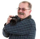 Man photographer doing photos by digital camera Stock Images