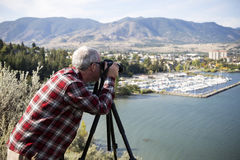 Man Photographer Photographing Penticton Okanagan Valley Stock Images