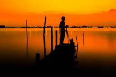 Man photographer silhouette. The man were photographed, after sunset Royalty Free Stock Images