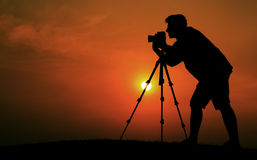 Man Photographer Taking Pictures Silhouette Concept Stock Photos