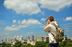 Man photographing the city Royalty Free Stock Image