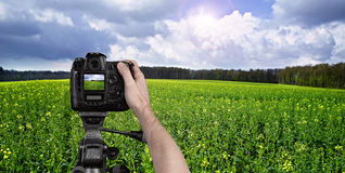 Man photographing landscape Stock Photography
