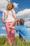 Man photographs girl Royalty Free Stock Image