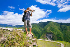 A man photographs the landscape. Rice terraces in the Philippine Royalty Free Stock Photos