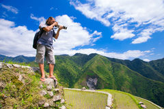 A man photographs the landscape. Rice terraces in the Philippine Stock Photography