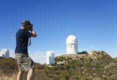 A Man Photographs the Mayall 4m Telescope Stock Photography