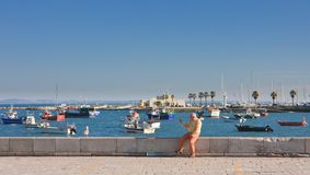 Man photographs seagull. Cascais. Portugal Royalty Free Stock Image