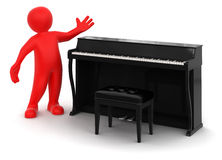 Man and Piano (clipping path included) Stock Photos