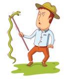Man pick up a snake Stock Image