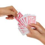 Man picking a playing card Stock Image