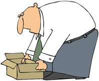 Man Picking Up A Box Stock Photography