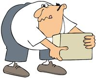 Man picking up a box. This illustration depicts a man bending over to pick up a box Stock Images