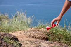 Man picking up litters Royalty Free Stock Photo
