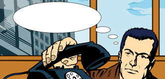 Man picking up the phone with speech bubble Royalty Free Stock Image