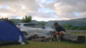 Camping in nature with a fire and a guy playing with a dog on the background of a landscape and car stock video