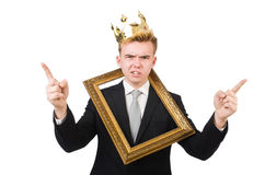 Man with picture frame Royalty Free Stock Images