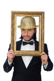 The man with picture frame isolated on white Stock Photography