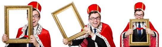 The man with picture frame isolated on the white Royalty Free Stock Photography