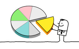 Man and pie chart royalty free illustration