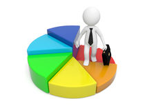Man with pie chart. 3d person, man, businessman standing on pie chart Stock Images