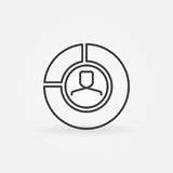 Man in pie chart icon. Vector business concept sign or infographics element in thin line style Stock Images