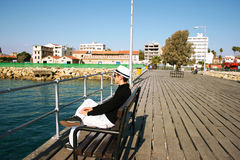 Man on pier Royalty Free Stock Image