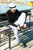 Man on the pier Royalty Free Stock Photos