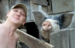 Man and pig expression Royalty Free Stock Image