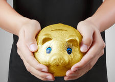 Man with the piggy bank Stock Images