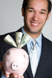 Man With Piggy Bank Royalty Free Stock Photography