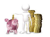 Man with piggy bank. 3d illustration of a man with piggy bank Royalty Free Stock Image