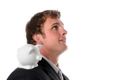 Man with Piggy Bank on Shoulder Royalty Free Stock Photography